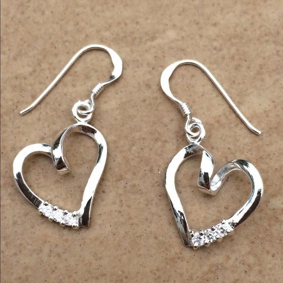 Jewelry - Sterling Silver 925 Cubic Zirconia Heart Earrings